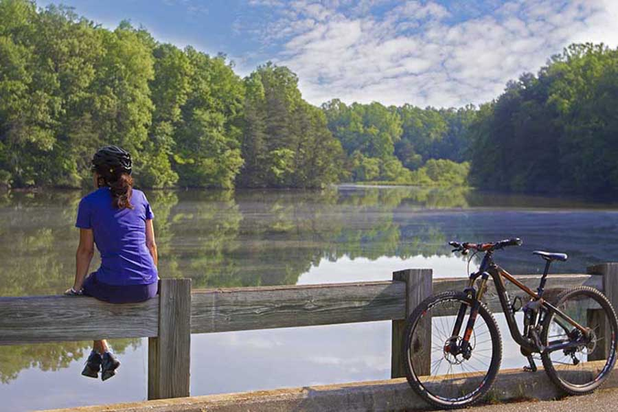 resting during a mountain bike ride at Lake Norman State Park