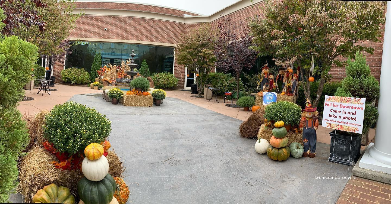 Charles Mack Citizen Center fall courtyard Mooresville NC