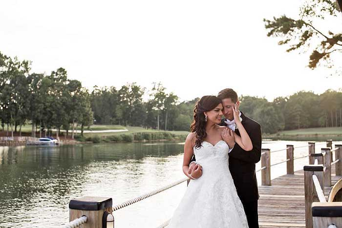 Bride and Groom wedding on the boardwalk at Trump National Charlotte Lake Norman