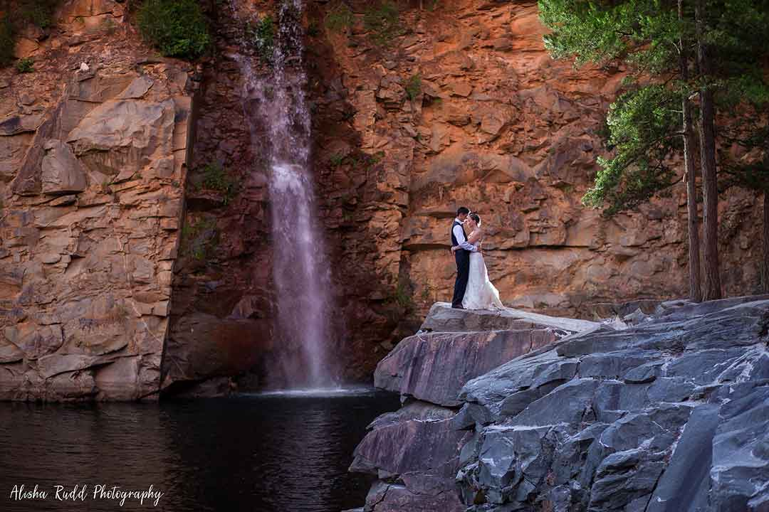 Waterfall wedding at the Quarry at Carrigan Farms