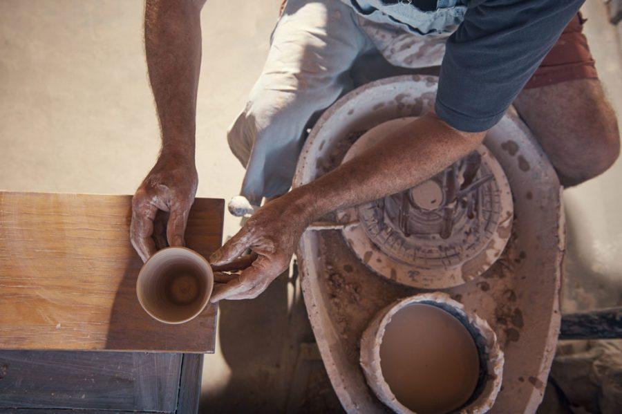 potter at wheel in Seagrove North Carolina