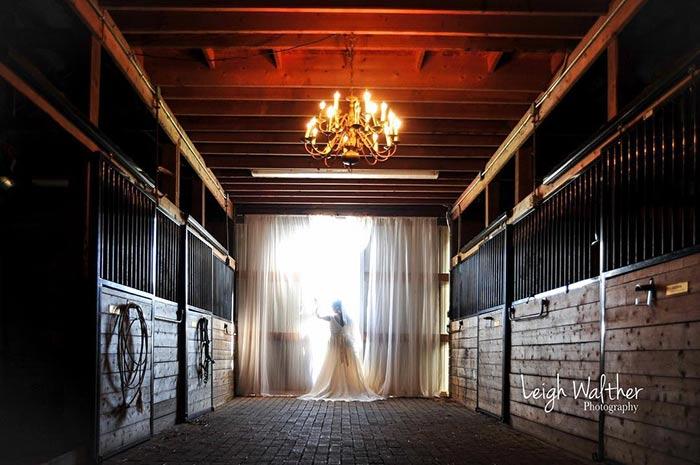 A bride in the barn at Breezy Meadows Farm Mooresville NC