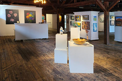 The gallery at Mooresville Arts historic Depot