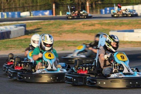 Racing karts at GoPro Motorplex in Mooresville NC