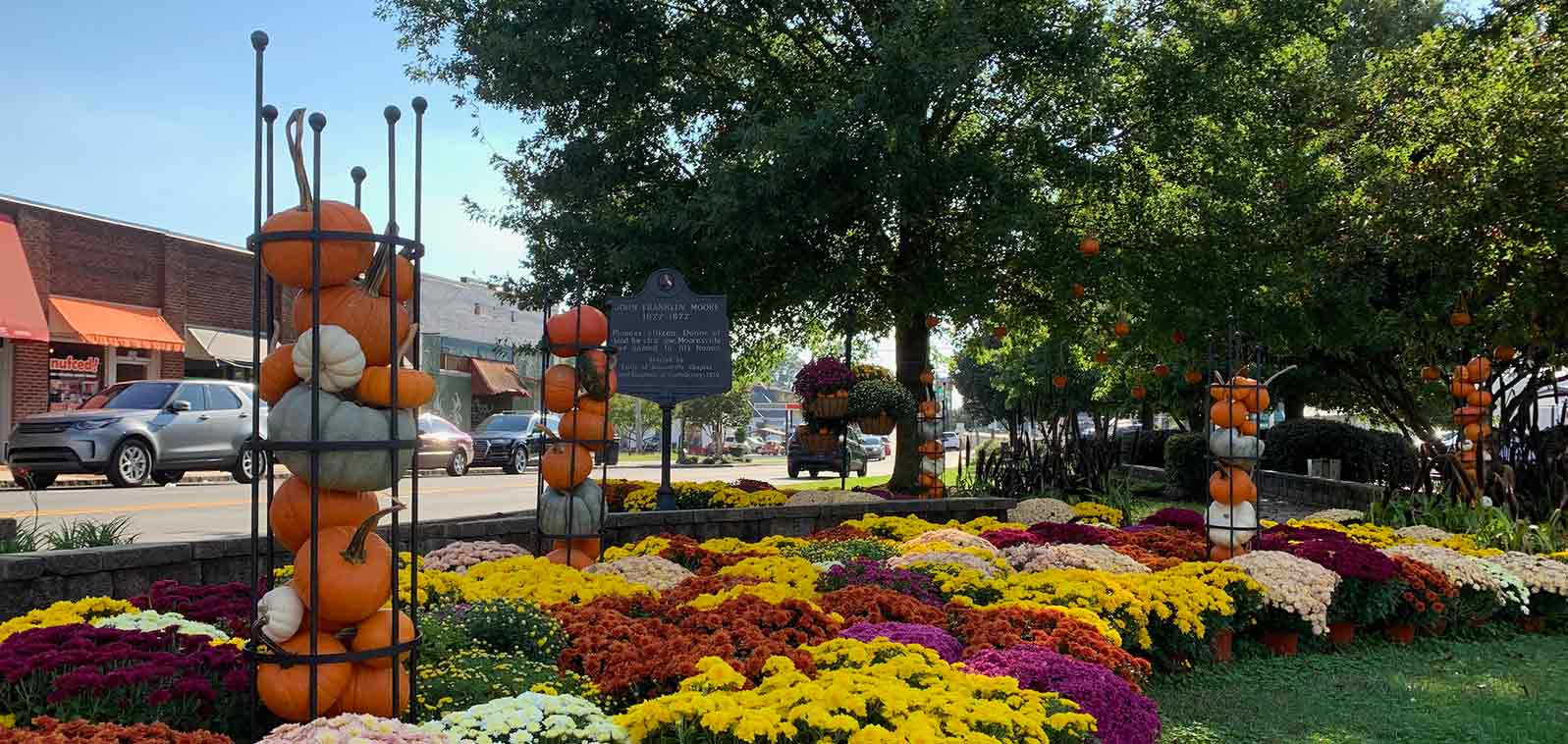 Fall flower display main street mooresville nc